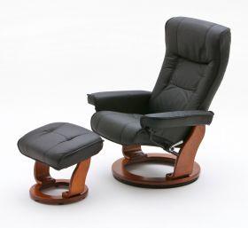 Relaxsessel Hamilton in schwarz Leder und Honig mit Hocker Funktionssessel 83 x 105 cm Schlafsessel Fernsehsessel