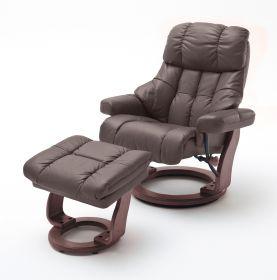 Relaxsessel Calgary XXL in braun Leder und Walnuss mit Hocker Funktionssessel bis 180 kg Schlafsessel Fernsehsessel