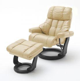Relaxsessel Calgary XXL in Creme Leder und schwarz mit Hocker Funktionssessel bis 180 kg Schlafsessel Fernsehsessel