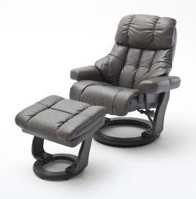 Relaxsessel Calgary XXL in schlamm Leder und schwarz mit Hocker Funktionssessel bis 180 kg Schlafsessel Fernsehsessel