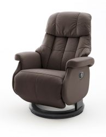 Relaxsessel Calgary L in braun Leder und schwarz Funktionssessel bis 130 kg Schlafsessel Fernsehsessel 77 x 111 cm