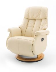 Relaxsessel Calgary L in Creme Leder und Natur Funktionssessel bis 130 kg Schlafsessel Fernsehsessel 77 x 111 cm