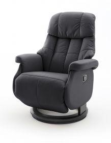 Relaxsessel Calgary L in schwarz Leder Funktionssessel bis 130 kg Schlafsessel Fernsehsessel 77 x 111 cm