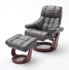 Relaxsessel Calgary in schlamm Leder und Walnuss mit Hocker Funktionssessel 90 x 104 cm Schlafsessel Fernsehsessel