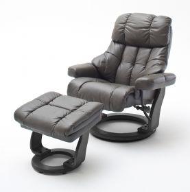 Relaxsessel Calgary in schlamm Leder und schwarz mit Hocker Funktionssessel 90 x 104 cm Schlafsessel Fernsehsessel