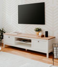 TV-Lowboard Bergen in weiß und Artisan Eiche Landhaus Fernsehtisch 160 x 45 cm TV-Unterteil