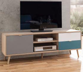 TV-Lowboard Cuba in Sonoma Eiche hell mit Petrol, Weiß und Grau skandinavischer Fernsehtisch Tricolor 150 x 52 cm
