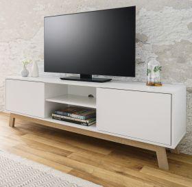 TV-Lowboard Apart in weiß und Sonoma Eiche Fernsehtisch Echtholz - Design 150 x 50 cm TV-Unterteil