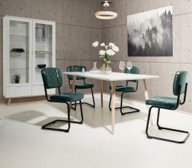 Esstisch Göteborg in matt weiß mit Sonoma Eiche massiv Küchentisch skandinavisch 160 x 90 cm