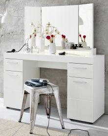 Schminktisch Amanda in weiß Hochglanz 120 x 141 cm mit Schubkasten und Spiegel