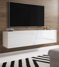 TV-Lowboard Space in Hochglanz weiß Lack TV-Unterteil hängend oder stehend 160 cm inkl. Beleuchtung