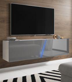TV-Lowboard Space in Hochglanz grau Lack TV-Unterteil hängend oder stehend 160 cm inkl. Beleuchtung