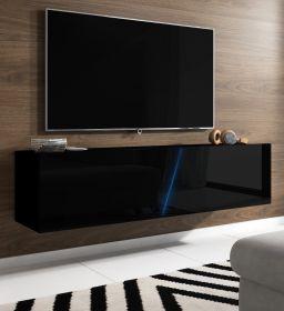 TV Lowboard Space in schwarz Hochglanz Lack TV Unterteil hängend / stehend 160 cm mit LED