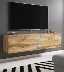 TV-Lowboard Space in Wotan Eiche TV-Unterteil hängend oder stehend 160 cm inkl. Beleuchtung