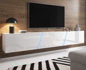 TV Lowboard Space in weiß Hochglanz Lack TV Unterteil hängend / stehend XXL-Board 240 cm mit LED