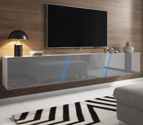 TV Lowboard Space in grau Hochglanz Lack TV Unterteil hängend / stehend XXL-Board 240 cm mit LED