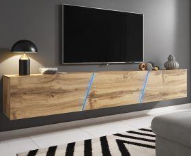 TV-Lowboard Space in Wotan Eiche Dekor TV Unterteil hängend / stehend XXL-Board 240 cm mit LED