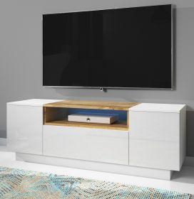 TV-Lowboard Foxx in Hochglanz weiß und Wotan Eiche TV-Unterteil 140 x 48 cm inkl. LED Beleuchtung