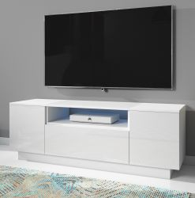 TV-Lowboard Foxx in Hochglanz weiß TV-Unterteil 140 x 48 cm inkl. LED Beleuchtung
