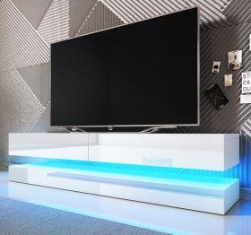 TV-Lowboard Bird in Hochglanz weiß TV-Unterteil 2-teilig 140 x 45 cm hängend inkl. Beleuchtung