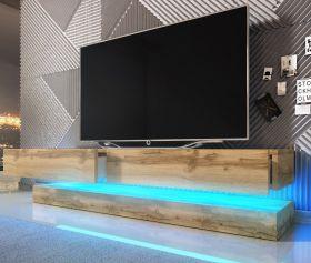 TV-Lowboard Bird in Wotan Eiche TV-Unterteil 2-teilig 140 x 45 cm inkl. LED Beleuchtung