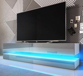 TV-Lowboard Bird in Hochglanz grau und weiß TV-Unterteil 2-teilig 140 x 45 cm hängend inkl. Beleuchtung