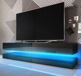 TV-Lowboard Bird in Hochglanz schwarz TV-Unterteil 2-teilig 140 x 45 cm hängend inkl. Beleuchtung