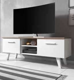 TV-Lowboard Jenrik in matt weiß und Eiche Gold Fernsehtisch skandinavisch 140 x 52 cm TV-Unterteil
