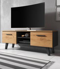 TV-Lowboard Jenrik Eiche Gold und schwarz im skandinavischen Stil 140 x 52 cm