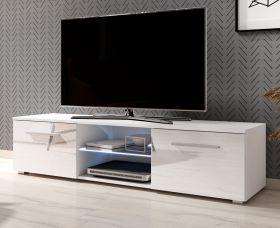 TV-Lowboard Earth in Hochglanz weiß TV-Unterteil 140 x 36 cm inkl. LED Beleuchtung Fernsehtisch