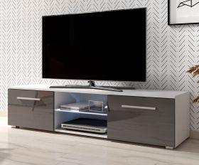 TV-Lowboard Earth in Hochglanz grau und weiß TV-Unterteil 140 x 36 cm inkl. LED Beleuchtung Fernsehtisch