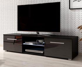 TV-Lowboard Earth in Hochglanz schwarz TV-Unterteil 140 x 36 cm inkl. LED Beleuchtung Fernsehtisch