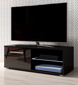 TV-Lowboard Earth in Hochglanz schwarz TV-Unterteil 100 x 36 cm inkl. LED Beleuchtung Fernsehtisch