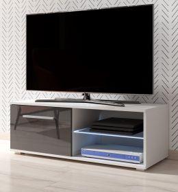 TV-Lowboard Earth in Hochglanz grau und weiß TV-Unterteil 100 x 36 cm inkl. LED Beleuchtung Fernsehtisch