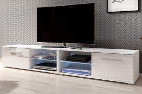 TV-Lowboard Earth in Hochglanz weiß TV-Unterteil 200 x 36 cm inkl. LED Beleuchtung Fernsehtisch