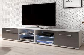 TV-Lowboard Earth in Hochglanz grau und weiß TV-Unterteil 200 x 36 cm Fernsehtisch inkl. LED Beleuchtung