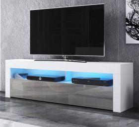 TV-Lowboard Live in Hochglanz grau und weiß TV-Unterteil 140 x 50 cm inkl. LED Beleuchtung