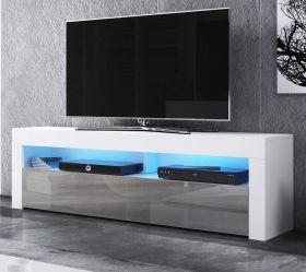 TV-Lowboard Live in Hochglanz grau und weiß TV-Unterteil 160 x 50 cm inkl. LED Beleuchtung