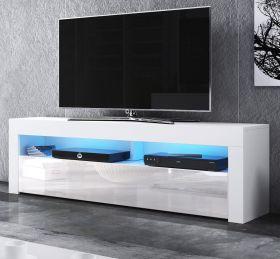TV-Lowboard Live in Hochglanz weiß TV-Unterteil 160 x 50 cm inkl. LED Beleuchtung