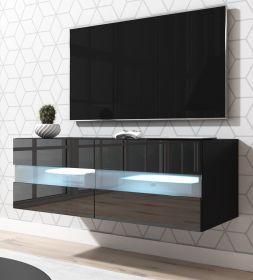 TV-Lowboard Rial in Hochglanz schwarz TV-Unterteil hängend 100 x 35 cm inkl. Beleuchtung