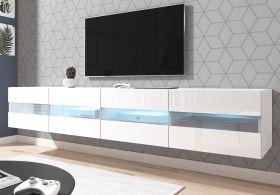 TV-Lowboard Rial in weiß Hochglanz hängend 200 x 35 cm mit Beleuchtung in blau