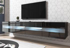 TV-Lowboard Rial in Hochglanz schwarz TV-Unterteil hängend 200 x 35 cm inkl. Beleuchtung