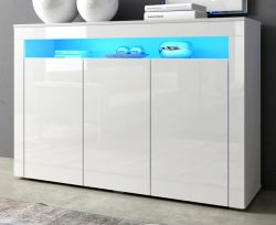 Sideboard Sally in weiß Hochglanz inkl. LED-Beleuchtung - Kommode 130 x 88 cm