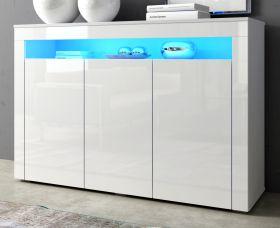 Sideboard Sally in Hochglanz weiß Anrichte inkl. Beleuchtung in blau 130 x 88 cm Kommode 3-türig