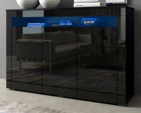 Sideboard Sally in Hochglanz schwarz Anrichte inkl. Beleuchtung in blau 130 x 88 cm Kommode 3-türig