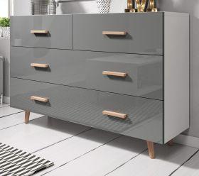 Kommode Norway-2 in Hochglanz grau und Buche massiv Schubladenkommode skandinavisch 125 x 80 cm Sideboard