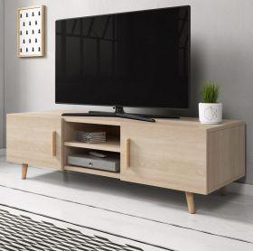 TV-Lowboard Norway-2 in Sonoma Eiche hell und Buche massiv TV-Unterteil skandinavisch 140 x 50 cm