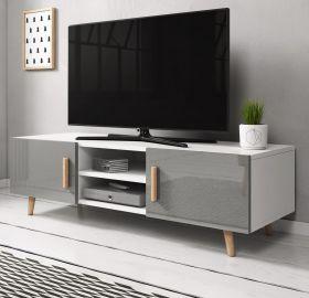 TV-Lowboard Norway-2 in Hochglanz grau und Buche massiv TV-Unterteil skandinavisch 140 x 50 cm