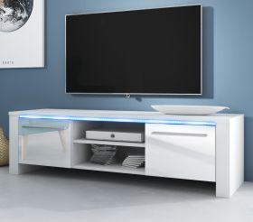 TV-Lowboard Harlem in Hochglanz weiß TV-Unterteil 140 x 40 cm inkl. LED Beleuchtung in blau