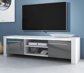 TV-Lowboard Harlem in Hochglanz grau und weiß TV-Unterteil 140 x 40 cm inkl. LED Beleuchtung in blau